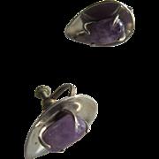 J Sotelo, Taxco, Amethyst Stone in a Sterling Tear Drop Shape