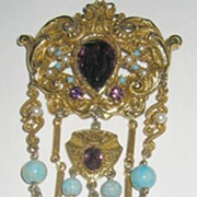 Renaissance Style Faux Amethyst and Turquoise Coro Brooch