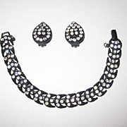 Weiss Japanned Bracelet and Earrings with Clear Rhinestones