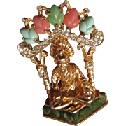 Coro Buddha of Fearlessness with Gold Plate, Clear Rhinestone, and Faux  Coral and Turquoise .