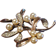 Trifari Sterling Vermeil Mistletoe Brooch with Faux Pearls and Clear Rhinestones - Designed by
