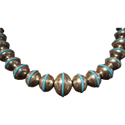 Navajo Sterling Graduated Chisel Bench Bead Necklace with Turquoise Rings
