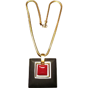 Trifari Gold Tone Snake Chain and Black and Red Pendant