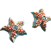 Kenneth Jay Lane for Avon Starfish Earrings with Turquoise Enamel, Faux Pearls and Rhinestones