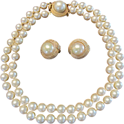 Ciner 2 Strand Faux Pearls and Earrings