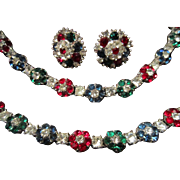 Crown Trifari Set with Rhinestone Flowers in Green, Blue and Red Flowers and Clear Stones ...