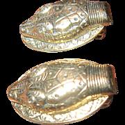 Whiting & Davis Snake Head Earrings Gold Tone