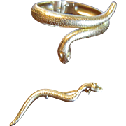 Trifari Gold Tone Plated Snake Bracelet and Brooch