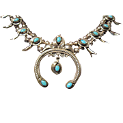 Haley, Navajo, Squash Blossom Necklace, Sterling and Turquoise