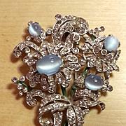 TRIFARI rhodium and moonstone rhinestone and enamel brooch dress clip
