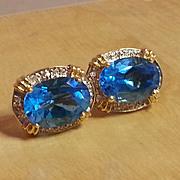 Goldtone Faux Aquamarine and rhinestone earrings