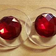 JUDITH HENDLER Clear acrylic and faceted red acrylic earrings