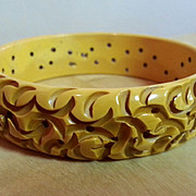 Cream rough carved textural bakelite bangle