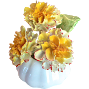 Painted Trio of Yellow Flowers in Off-White Vase- Staffordshire Bone China