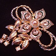 REDUCED Vintage Gold Tone and Silver Tone Brooch/Pin with Rhinestones