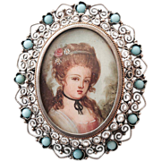 REDUCED Sterling Silver Hand Painted Cameo Brooch/Pendent from Italy