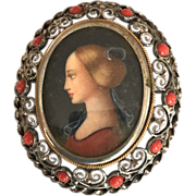 Sterling Silver Hand Painted Cameo Brooch/Pendent from Italy
