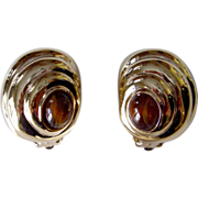 REDUCED CINER Vintage Button Earrings - Gold Toned with Cabochon Stone