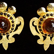 REDUCED MARESCO Vintage Earrings - Gold Toned with Amber Cabochon Stone