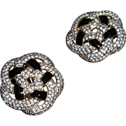 REDUCED Gorgeous Vintage Rhinestone and Black Button Earrings