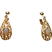 REDUCED Delicate Gold Tone Drop Earrings with Opal Stone