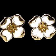 REDUCED Dainty White Enamel Flower Earrings