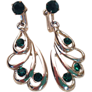 REDUCED Green Rhinestone and Silver Tone Earrings