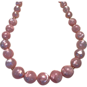 REDUCED Vintage Pale Pink Beaded Necklace by Monet