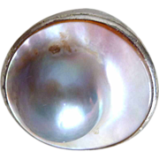REDUCED Stunning Vintage Mother of Pearl and Sterling Silver Ring