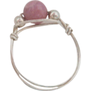 REDUCED Dainty Silver Tone Ring with Pink Bead