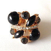 REDUCED Vintage Ring – Black Stones and Clear Rhinestones in Gold Tone