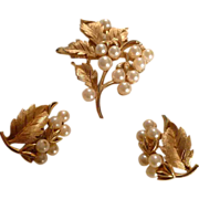 REDUCED Golden Leaves and Pearls by Trifari