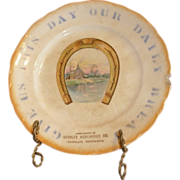 "SALE 8.5"" advertising plate. Give Us This Day Our Daily Bread Deshler Mercantile Co ..."