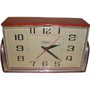Vintage art deco style RED Telechron electric desk clock.