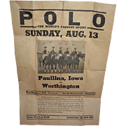 POLO the World's Fastest Sport paper poster advertising bill.  Worthington Minnesota vs ...