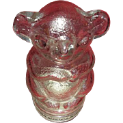 San Diego Zoo souvenir glass candy container Bear with screw on metal lid.