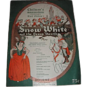 SNOW WHITE and the SEVEN DWARFS sheet music brochure.  Complete Simplified Edition 1938 Walt .