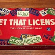 SALE Vintage 1955 Get That License - 54. The License Plate board or table game.