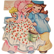 SALE 1949 vintage Birthday greeting card Jack and Jill. A Storyland paper doll complete with .