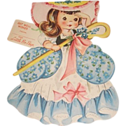 SALE 1949 vintage Get Well greeting card Little Bo Peep. A Storyland paper doll complete ...