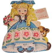 SALE 1949 vintage Happy Birthday greeting card Goldilocks. A Storyland paper doll complete wit