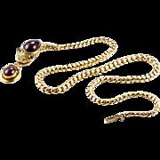 "Early Victorian Garnet ""Ouroboros"" Snake Necklace, English c. 1840s"