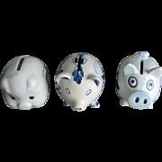 SALE 3 Ceramic Pig Banks