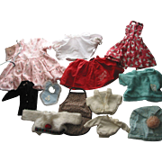 Lot of 12 Pieces of Older Doll Clothes