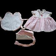 Tiny Tears Pink Doll Dress, Hat & Romper