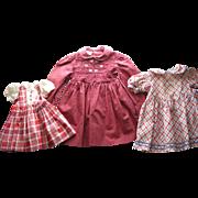 3 Older Cotton Doll Dresses