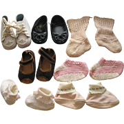 REDUCED 7 Pairs of Old Doll- Baby  Shoes and Booties