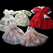 5 Old Larger Doll Dresses
