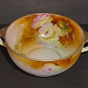 VINTAGE Nippon Hand-painted  Signed Two Handle Deep Bowl Mark Green #47