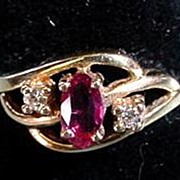 Ruby Ring with 2 Small Diamonds 14K  Size 6 Great Sweet Sixteen Ring